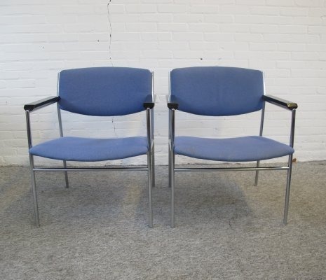 Two vintage Chrome metal & blue Fabric Armchairs, 1960s