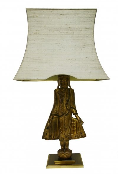 Large carved giltwood Buddha table lamp, 1970s