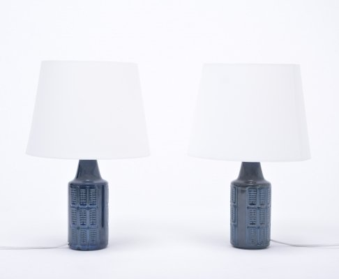 Pair of small blue stoneware table lamps model 1017 by Einar Johansen for Søholm