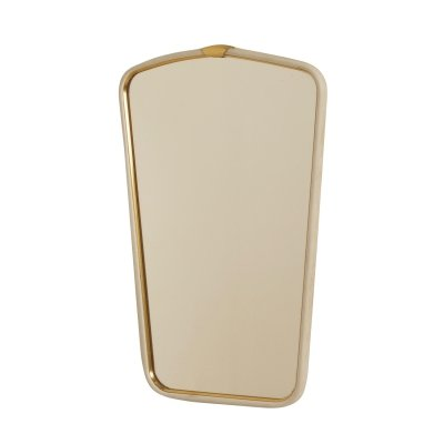 Vintage Wall Mirror with Brass Rim, 1950s