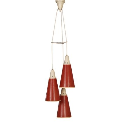 Red Perfolux Pendant by N. Hiemstra for Hiemstra Evolux, 1950s