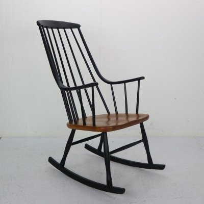 Wooden 'Grandessa' Rocking Chair by Lena Larsson for Nesto, 1960s