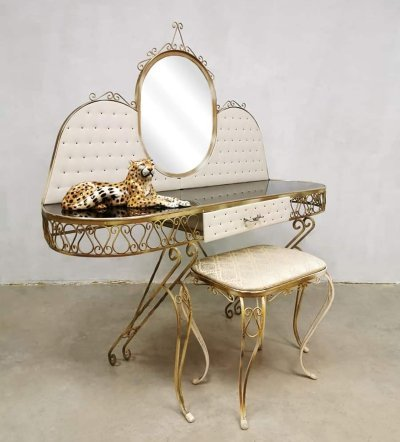 Vintage Baroque style dressing table & stool, France 1950s