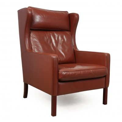 Mid century Leather Wing Chair by Stouby Denmark, c1970