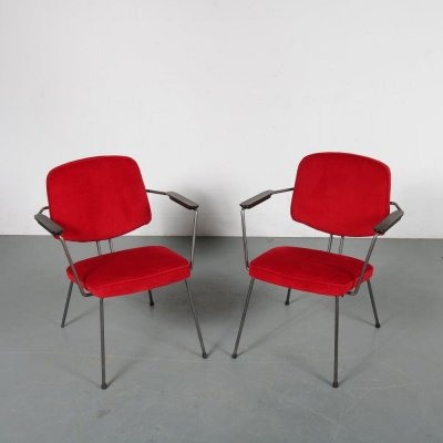 Minimalist Dutch easy chairs by Rudolf Wolf for Elsrijk, 1950s