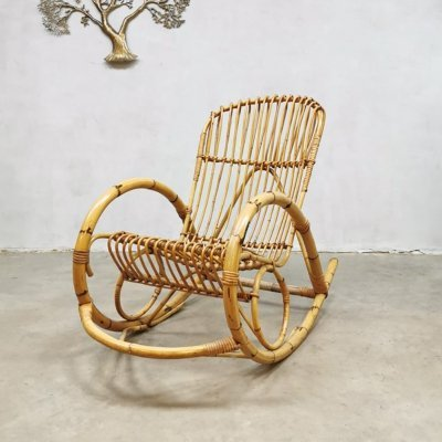 Vintage rattan rocking chair by Rohe Noordwolde