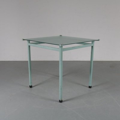 Industrial blue metal table manufactured in the Netherlands, 1950s