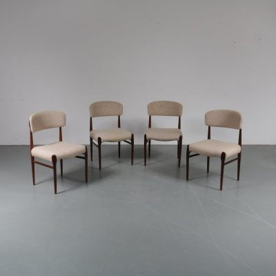 Set of 4 dining chairs in rosewood, 1950s