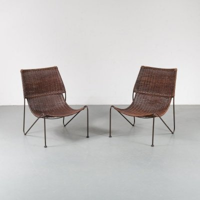 Pair of Unique wicker chairs by Frederick Weinberg, USA 1950s