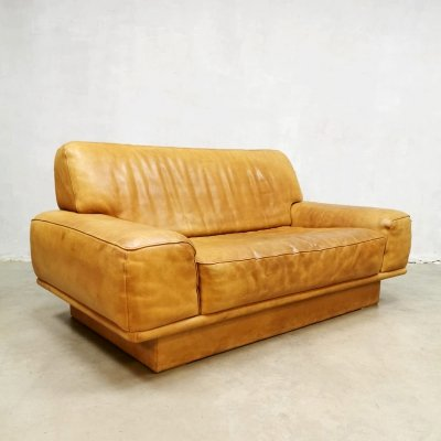 Midcentury design leather 'DS-40' loveseat sofa by De Sede, 1970s