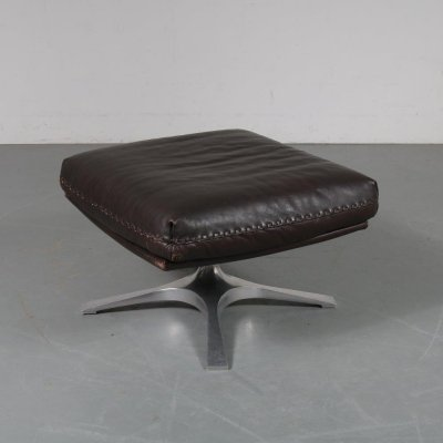 Brown leather foot stool by De Sede, Switzerland 1960s