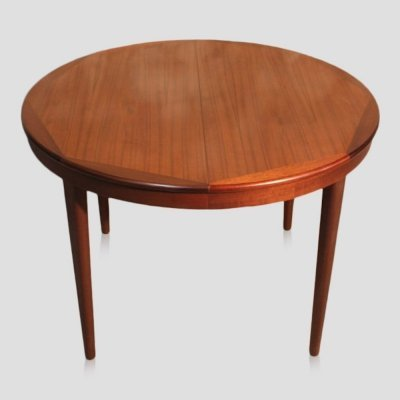Vintage scandinavian style mid-century teak round dining table with 2 extensions