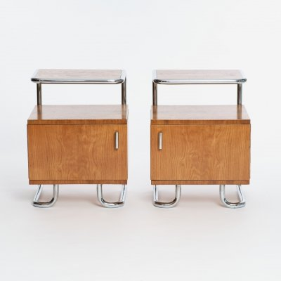 Pair of Art Deco Chrome & Tubular Steel Nightstands by Kovona, 1930s