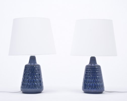 Pair of blue stoneware table lamps model 1019 by Einar Johansen for Søholm