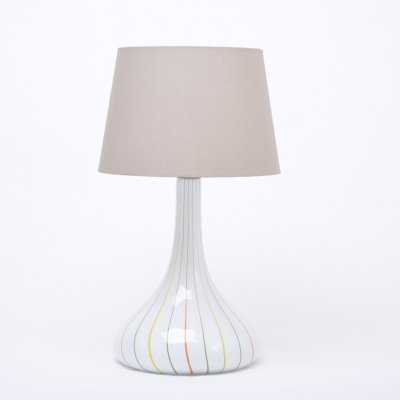 Tall white Mid-Century glass table lamp by Holmegaard