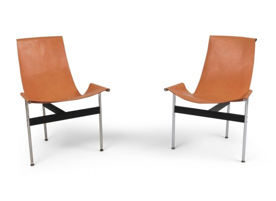 Pair of Katavolos, Kelly & Littell T-Chairs in Original Cognac Leather, 1970s