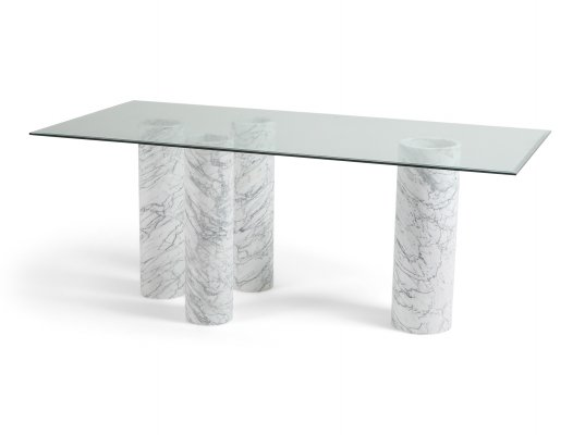 Carrara 'Collonato' Table with Glass Top, 1990s