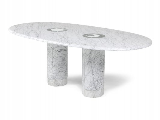 Sun & Moon Marble Dining Table by Adolfo Natalini for Up & Up, 1990s