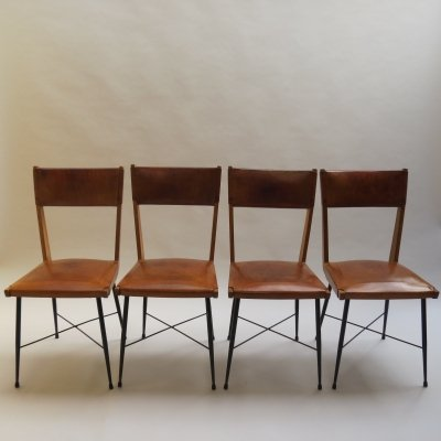 Set of 4 Leather & Metal Dining chairs, 1950s
