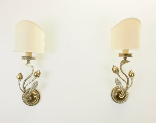 Pair of 2 Florentiner/Regency style sconces hand wrought by Hans Moller, Germany 1960s