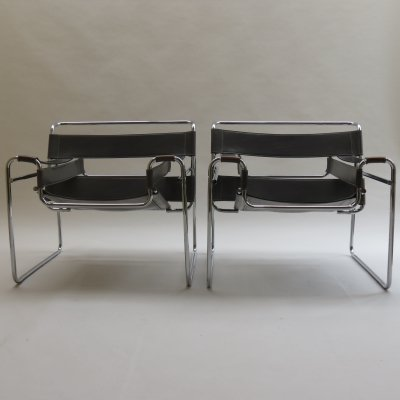 2 x Grey Wassily Chair by Marcel Breuer for Knoll, 1980s