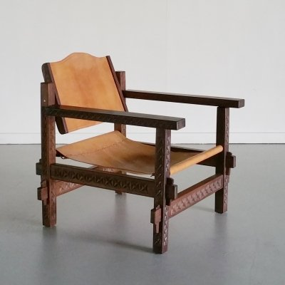 Tanzanian Wenge & Leather Safari Chair, 1970s