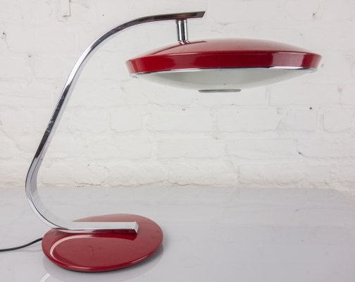 Red 'Model 520' desk lamp by Fase