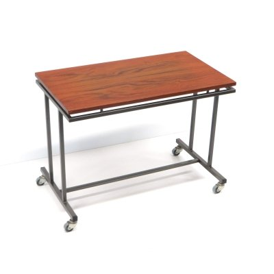 Vintage side table / table on wheels with metal frame, 1960s