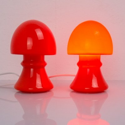 2 glass table lamps, 1960s