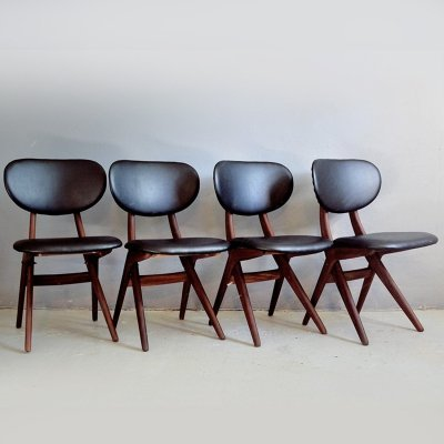 Set of 4 Teak dining chairs by Louis van Teeffelen for Webe