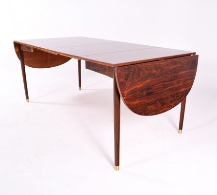 Midcentury Drop-Leaf Dining Table in Rosewood with 2 Extensions