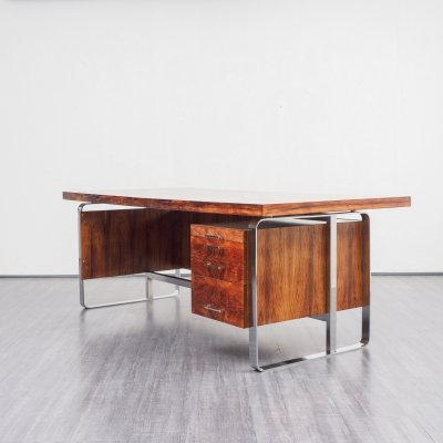 Mid-Century 1970s Large Executive Desk In Rosewood
