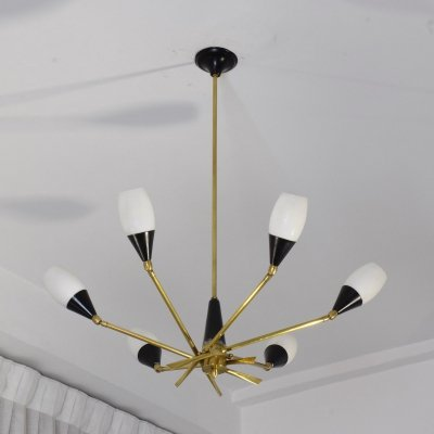 20th Century Italian 6-Arm Chandelier by Stilnovo, 1950's