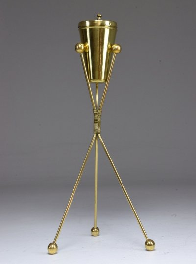 Italian Midcentury Brass Standing Ashtray, 1950s