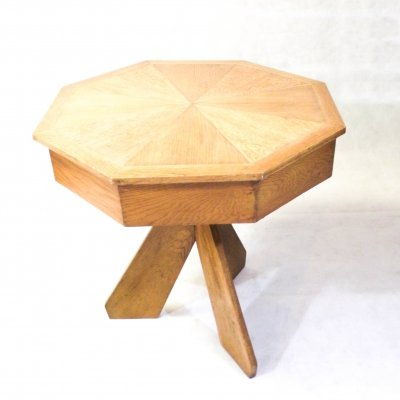 Three legged octagonal table with secret container, 1950s