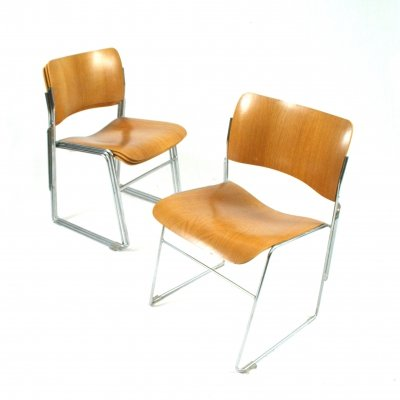 Set of 4 stackable chairs by David Rowland for Seid International, 1960s