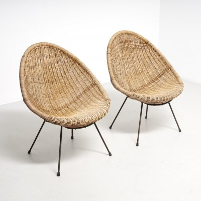 Pair of rattan 'basket' easy chairs, 1950s