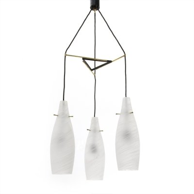 Midcentury glass & brass italian pendants lamp, 1960s