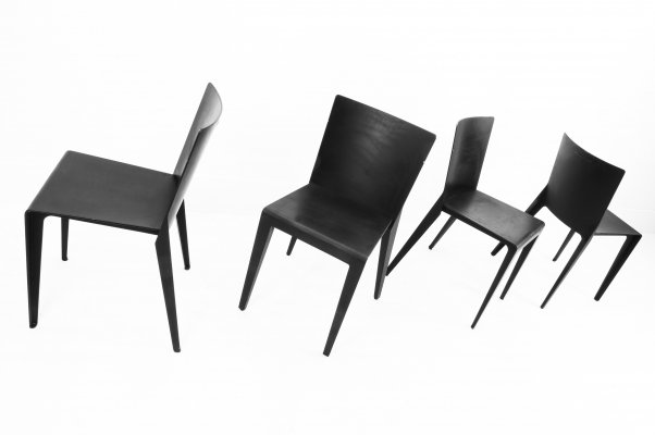 Set of 4 Alfa dining chairs by Hannes Wettstein for Molteni, 1980s