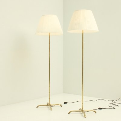 Pair of Swedish Brass Floor Lamps, 1940's