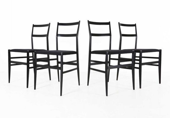Set of 4 Superleggera 699 dining chairs by Gio Ponti for Cassina, 1980s