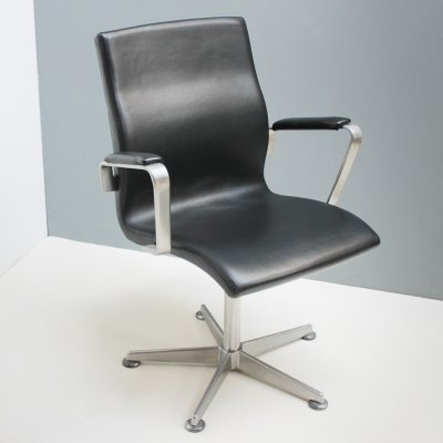Leather Oxford Swivel Chair by Arne Jacobsen for Fritz Hansen