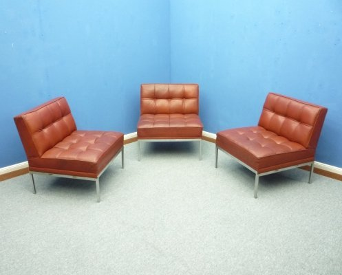 Set of 3 Leather Lounge Chairs by Johannes Spalt for Wittmann, 1960s