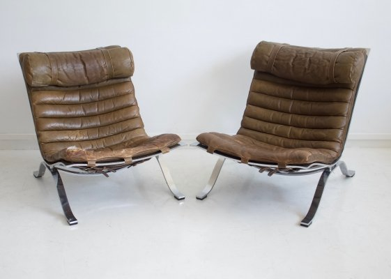 Pair of Arne Norell Brown Leather & Steel Ari Chairs