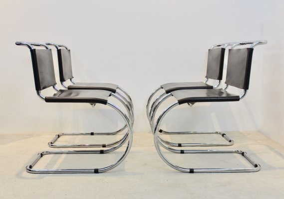 Set of 4 Chocolate Brown Leather MR10 Cantilever Chairs by Ludwig Mies van der Rohe, 1960s