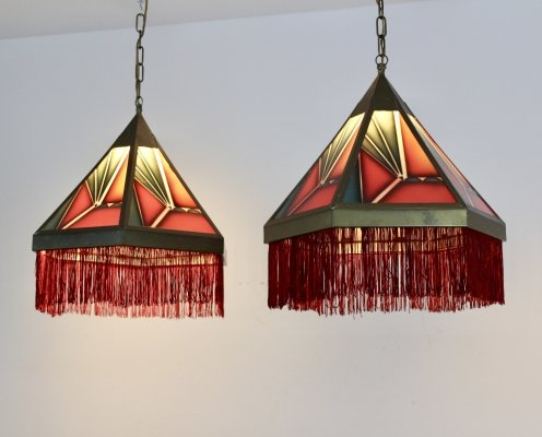'Amsterdamse School' Stained Glass Art Deco Pendant Lights