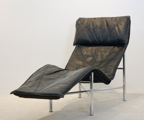 Black Leather 'Skye' Chaise Longue by Tord Björklund, Sweden 1970s