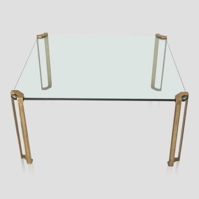 Vintage square brass & glass T24/3 coffee table by Peter Ghyczy, 1979