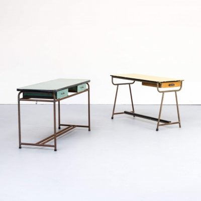 Set of two industrial children's writing desks, 1960s
