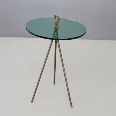 Brass & glass side table, 1950s